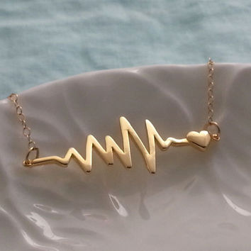 Heartbeat Necklace. EKG Necklace. Valentines Day. Love Jewelry. Heart Pendant. Gold Filled Necklace. Layering Layered, Love Necklace