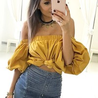 Pure Color Off Shoulder Loose Crop Top