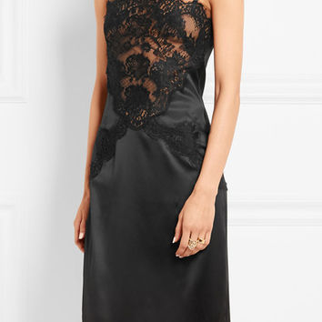 Dolce & Gabbana - Lace-paneled silk-blend satin dress