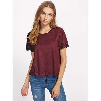 Scalloped Laser Cut Suede Top Burgundy