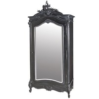 Moulin Noir Mirrored Armoire | Traditional Black Painted Armoire | Painted French Armoires