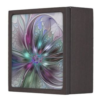 Colorful Fantasy, abstract and modern Fractal Art Jewelry Box