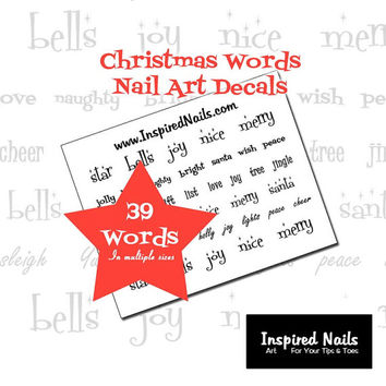 Christmas Words Nail Decals in Black