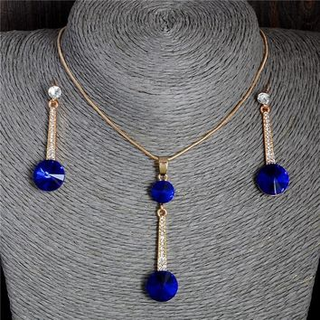 Pendants & Necklace Stud Earrings Blue Natural Stone Cubic Zirconia Jewelry Sets