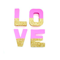 Pink & Gold Glitter Love Letters - Glitter Letters, Custom Ornament Letters, Wedding decor, Freestanding Letters, Paper Mache Letters