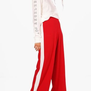Leona Contrast Panel Wide Leg Relaxed Trousers   Boohoo