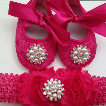 Baby hot pink lace shoes and headband set--Newborn hot pink lace shoes-- Baby hot pink rhinestone headband