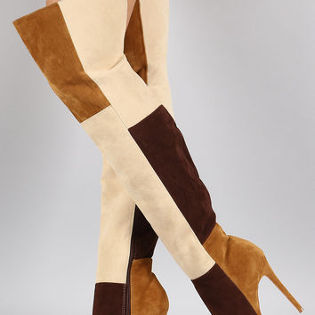 Shoe Republic LA Suede Colorblock Patchwork Stiletto Boots