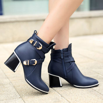 Pointed Buckle Ladies Boots