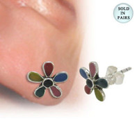 Ear Stud .925 Sterling Silver with Enamel Flower Design - SU173