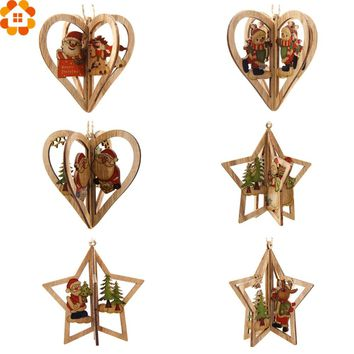 3Sets 3D Creative Christmas Wooden Pendants Ornaments DIY Star&Heart Christmas Party Decorations Xmas Tree Ornaments Kids Gift