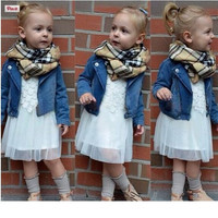 Girls 3 PC Outfit Trendy Denim Jacket + Dress + Scarf