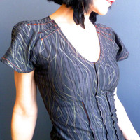 Wild Wood ~ iheartfink Handmade Hand Printed Gray Metallic Wood Grain Art Print Fitted Womens Fashion Top