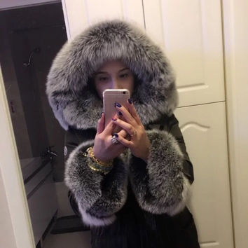 High cold winter outwear new natural fox real fox fur parka plus size big fur collar warm thick long duck down coat MZ1110