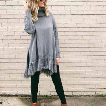 Windy Afternoon Sweater Poncho in Grey