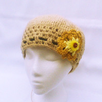 Beige Hand crochet Hat  Beanie hat Crochet flower Crocheted  Hats Women Spring Fashion Women Girls Accessory Accessories Gift for her