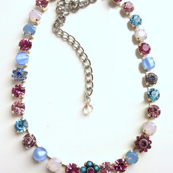 swarovski crystal necklace, pink and blue, better than sabika, GREAT PRICE
