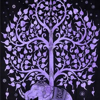 Purple Elephant Tree Bohemian Boho India Wall Hanging Tapestry Beach Bed