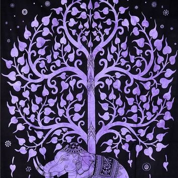Purple Elephant Tree Bohemian Boho India Wall Hanging Tapestry