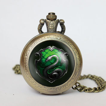 Handmade  Salazar Slytherin Harry Potter  pocket watch locket necklace  Salazar Slytherin Harry Potter  vintage Pendant locket necklace