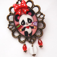 glamasaurus ♥Kawaii Cute Sweet Jewelry + Accessories ♥ — Cutie Kawaii Panda Brooch