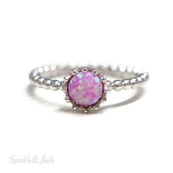 Sterling Silver Small Round Pink Opal Crown Set Ring