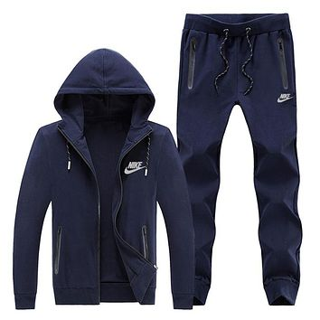 NIKE winter sports suit men's plus velvet long-sleeved hooded jacket warm casual two-piece suit Blue