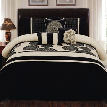 Biatta 7-Piece Comforter Set in Black/Ivory