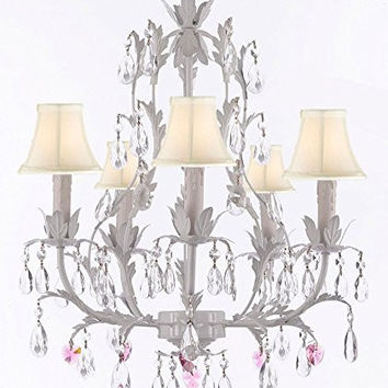 White Wrought Iron Floral Chandelier Lighting W/ Pink Hearts And Shades! - G7-Sc/Whiteshade/B21/White/407/5