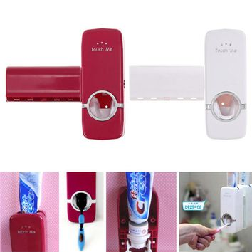 Tooth Brush Holder Automatic Toothpaste Dispenser + Toothbrush Holder Toothbrush Wall Mount Stand Bathroom Tools