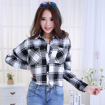 Flannel Shirt Women Plaid Shirt 2015 Womens Blouses Long Sleeve Checkered Ladies Plaid Shirts Plus Size Winter Autumn Clothing 4
