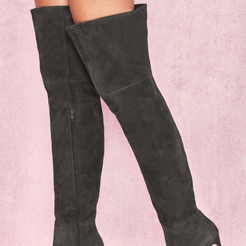 Shoes: 'Extraordinaire' Dark Grey Real Suede Thigh Boots