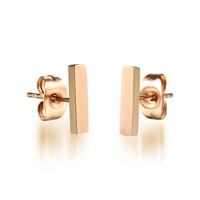 Rose Gold Plated Titaniumr Rectangle Stud Earrings for Fall Winter [9047551559]