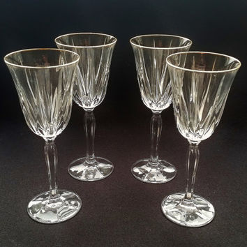 4 Lead Crystal Vintage Wine Glasses. Four Ribbed Crystal Wine Glasses with Gold Trim. Stemware wedding gift.