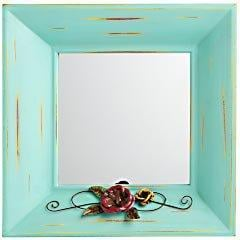 Product Details - Mini Mirror With Flowers - Blue