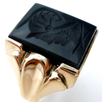 10K Gold Intaglio Black Onyx Soldier Men's Ring