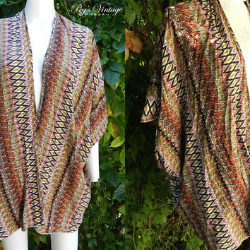 1980's Tribal Indian Cotton Tunic Blouse, Festival Boho Ladies Bat Wing Top, Earth Tone Colors