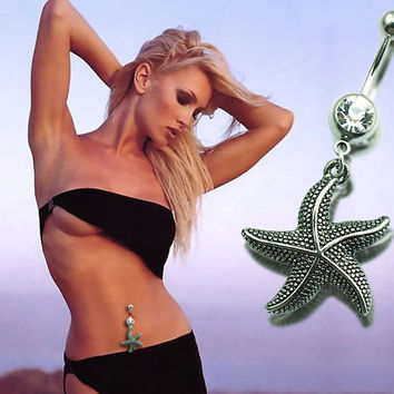 New Charming Dangle Crystal Navel Belly Ring Bling Barbell Button Ring Piercing Body Jewelry = 4661791236