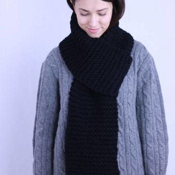 Men's Scarf, Hand Knit Long Scarf, Chunky Knit Long Scarf, Unisex Scarf, Winter Scarf, Black