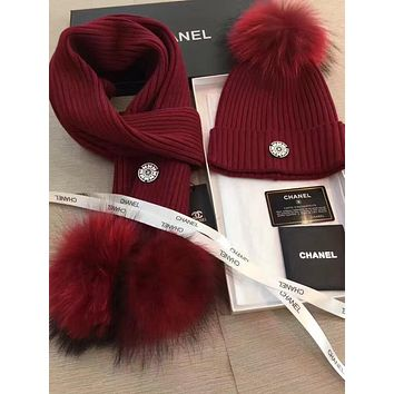 CHANEL Beanies Winter Knit Hat Cap Cape Scarf Scarves Set Two-Piece