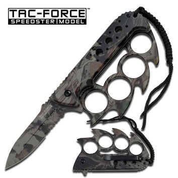 KNUCKLE HANDLE ASSISTED OPENING FOLDER KNIFE JUNGLE CAMO