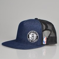 Adidas NBA Nets Flat Brim Trucker Cap F77242 - Denim/Black