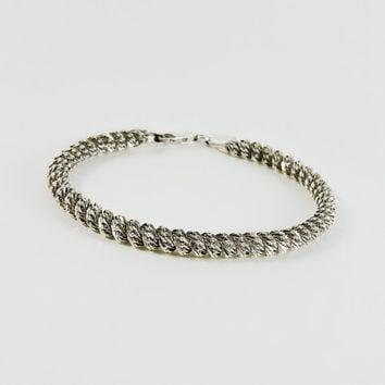 "Thick Sterling Bracelet - Milor Twisted Rope Bracelet - Sterling Silver Rope Bracelet - Vintage Milor Sterling Bracelet - 7.5"" Bracelet"