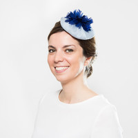 Kenna - Feather fascinator with soft blue organza basis