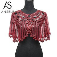 Vintage Women 1920s Sequin Shawl Poncho Fashion Sheer Mesh Shiny Sequined Beading Scalloped Solid Evening Party Bolero Cape
