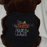 I'm With The Hottie Embroidered Basic Tank Dog Shirt XL