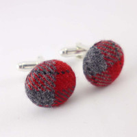 Mens cuff links - plaid cuff link set -  red and gray fabric covered cuff links - fabric cufflinks
