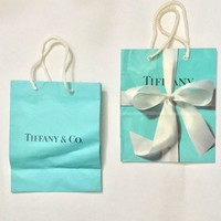 TIFFANY & CO Vintage Shopping Bags / 90s Tiffany's Jewelry Designer Gift Bags / Robins Egg Blue Paper Bags / Tiffany Silver Merchandise Bags