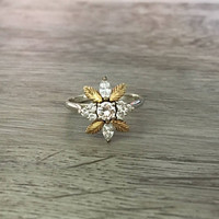 Antique Floral Diamond Wedding Ring in 14k White & Yellow Gold, Diamonds G SI1, 3/4 carats total, Size US 7 (ring sizing available)