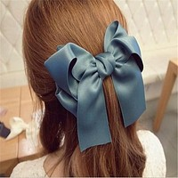 Sweet Fashion Hair Accessories Korean Women Multicolor Satin Ribbon Bow Hair Clip s Barrette Ponytail Holder cc0070
